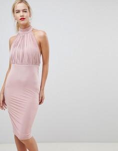 Платье с плиссировкой и высокой горловиной City Goddess - Бежевый