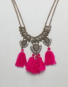 Броское ожерелье с камнями и кисточками ASOS DESIGN - Золотой