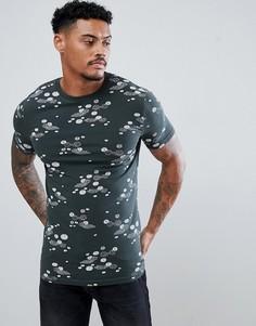 Обтягивающая футболка с цветочным принтом ASOS DESIGN - Зеленый