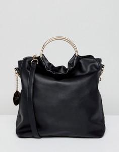 Мешковатая сумка-тоут с круглой ручкой Faith - Черный