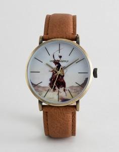 Часы с коричневым ремешком и принтом ASOS DESIGN - Рыжий
