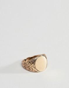 Золотистое кольцо-печатка в винтажном стиле ASOS DESIGN - Золотой