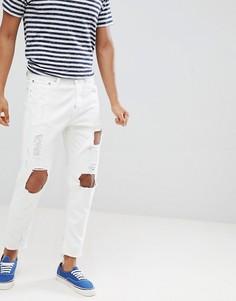 Рваные зауженные джинсы с необработанными краями Jack & Jones - Белый