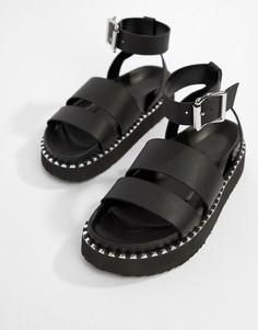 Кожаные сандалии на толстой подошве ASOS DESIGN Feebs - Черный