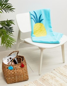 Флисовое одеяло с надписью Be Happy Typo - Мульти