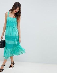Платье миди с вышивкой ASOS DESIGN - Синий