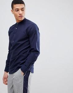 Премиум-рубашка с короткой планкой и добавлением льна Jack & Jones - Темно-синий
