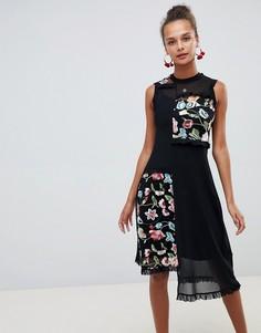 Платье миди с сетчатыми вставками с вышивкой ASOS DESIGN - Черный