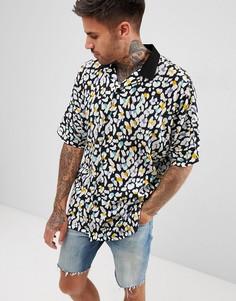 Oversize-рубашка с леопардовым принтом и рукавами летучая мышь ASOS DESIGN - Черный