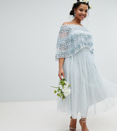 Многослойное платье с отделкой Maya Plus - Синий