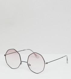 Круглые солнцезащитные очки с розовыми градуированными стеклами ASOS DESIGN - Серый