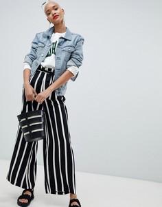 Широкие брюки в полоску со сборками на поясе Pieces - Мульти