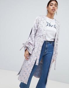 Жаккардовая куртка с разрезами на рукавах Lost Ink - Розовый