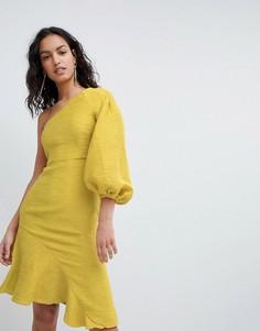 Платье мини на одно плечо с оборкой Elliatt - Желтый