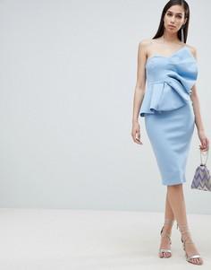 Платье-бандо миди ASOS DESIGN Fan - Синий