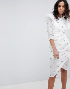 Структурированное платье с вышивкой Elliatt - Белый