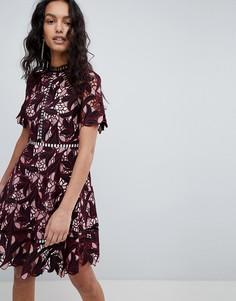 Кружевное короткое приталенное платье с вырезом Elliatt - Мульти