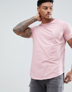 Розовая обтягивающая футболка с логотипом и лентой Gym King - Розовый