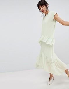 Платье миди с ярусными оборками Vero Moda - Синий