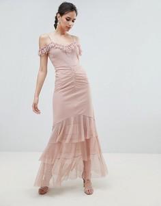 Платье макси на бретельках с открытыми плечами ASOS DESIGN - Розовый