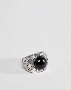 Серебристое кольцо с печаткой и черным ониксом Icon Brand - Серебряный