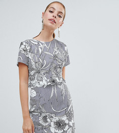 Платье мини с открытой спиной и цветочным принтом Missguided Petite - Серый