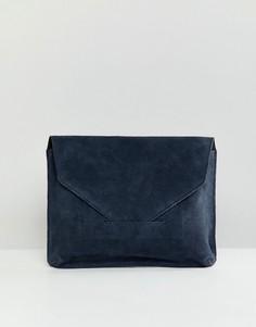 Замшевый клатч ASOS DESIGN - Темно-синий