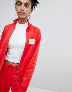 Спортивная куртка на молнии с логотипом Calvin Klein - Красный