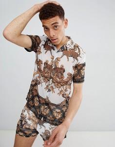 Шифоновая рубашка с принтом в стиле барокко Jaded London - Белый