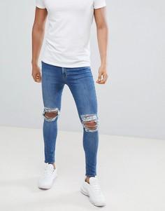 Синие рваные джинсы скинни Jaded London - Синий