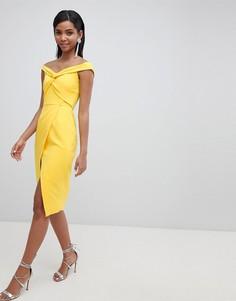 Платье миди с открытыми плечами и запахом Lavish Alice - Желтый