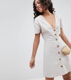 Короткое приталенное платье в стиле casual на пуговицах ASOS DESIGN Tall - Кремовый