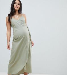 Льняное платье макси с запахом ASOS DESIGN Maternity - Зеленый