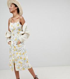 Летнее платье миди на пуговицах с цветочным принтом ASOS DESIGN Tall - Мульти