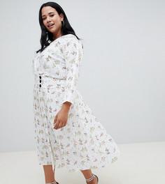 Платье макси с пуговицами по бокам и цветочным принтом ASOS DESIGN Curve - Мульти
