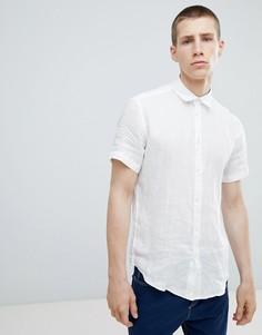 Льняная рубашка с короткими рукавами United Colors of Benetton - Белый