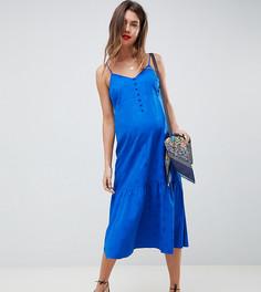 Жаккардовое платье-комбинация миди с баской ASOS DESIGN Maternity - Синий