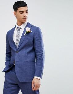 Синий льняной пиджак классического кроя United Colors Of Benetton Wedding - Синий