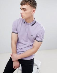 Сиреневое поло с контрастным воротником Fred Perry - Фиолетовый