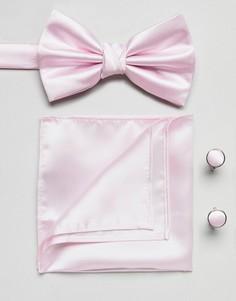 Комплект из галстука и платка для нагрудного кармана розового цвета Burton Menswear Wedding - Розовый
