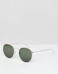 Круглые солнцезащитные очки в золотистой оправе Weekday - Золотой