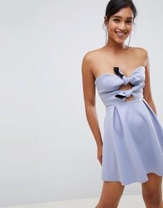 Короткое приталенное платье с узелком ASOS DESIGN - Синий