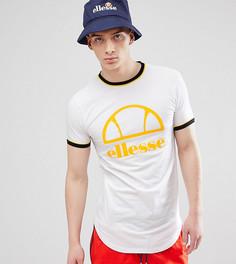 Длинная обтягивающая футболка белого цвета с логотипом ellesse - Белый
