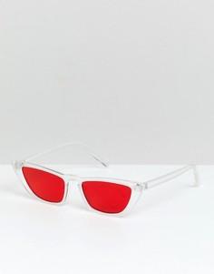 Солнцезащитные очки кошачий глаз с красными стеклами ASOS DESIGN - Очистить