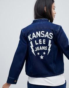 Джинсовая куртка без воротника с вышивкой Lee - Синий