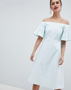 Платье с открытыми плечами Closet London - Зеленый