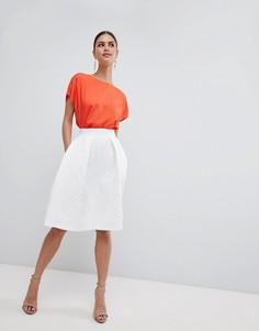 Фактурная юбка миди Closet London - Кремовый