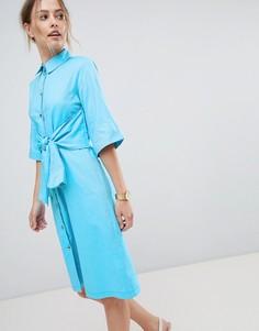 Платье-рубашка с поясом Closet London - Синий