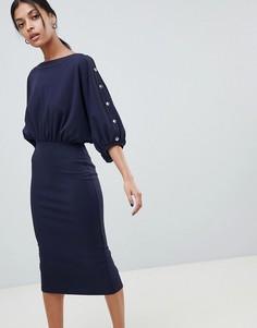 Платье миди с рукавами летучая мышь ASOS DESIGN - Темно-синий