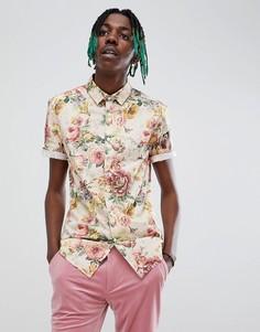 Облегающая рубашка с цветочным принтом ASOS DESIGN - Белый